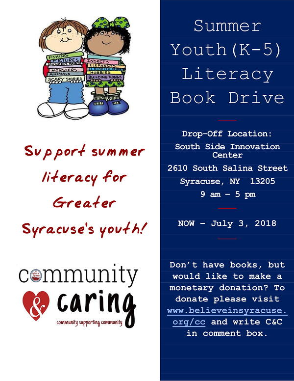 Believe In Syracuse Summer Youth Book Drive 2018