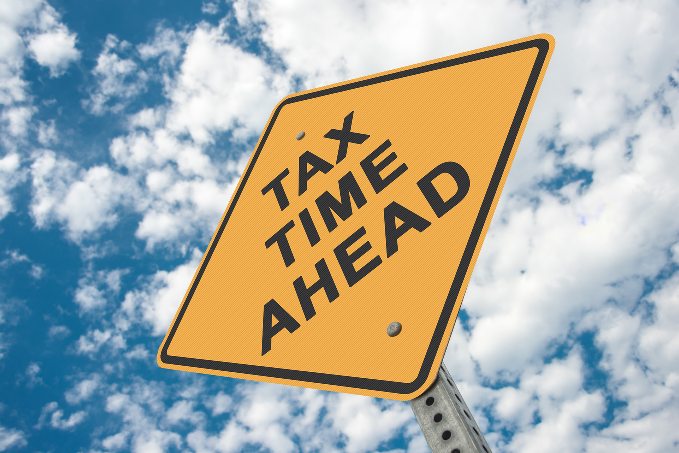Tax Time Ahead Road Sign